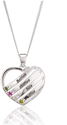 The Love Silver Collection Sterling Silver Personalised Gem-Set Heart Pendant