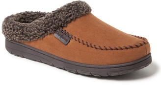 Dearfoams Men's Microsuede Clog with Whipstitch Detail