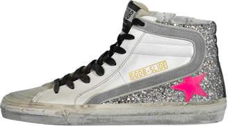 Golden Goose Sliver Glitter Slide Sneakers