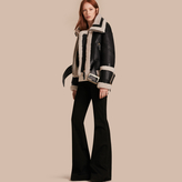 Burberry Shearling Aviator Jacket with Oversize Buckles