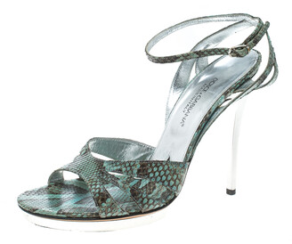 Dolce & Gabbana Green Python Ankle Strap Platform Sandals Size 39