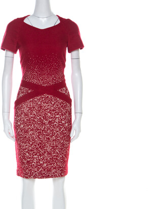 Carolina Herrera Red Textured Wool Short Sleeve Pencil Dress M