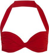 Norma Kamali Bill Ruched Halterneck Bikini Top - Red