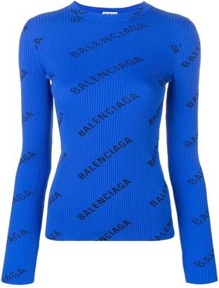 Balenciaga Ribbed Logo Print Sweater