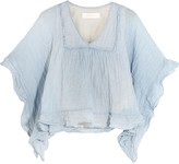 See by Chloe Ruffled striped crinkled cotton-blend top