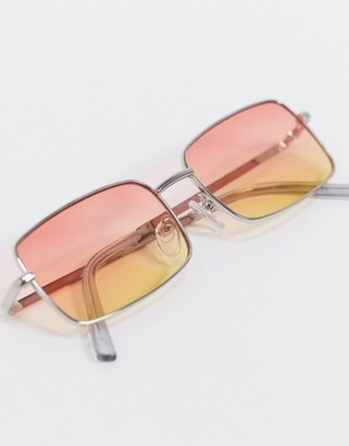 ASOS DESIGN square sunglasses in silver with grad lens detail