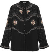 Vilshenko Calina Embroidered Cotton Blouse - Black