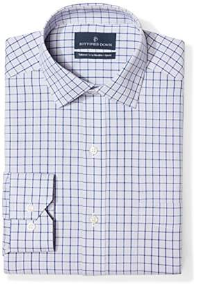 Buttoned Down Tailored Fit Spread-collar Pattern Non-iron Dress Shirt Grey/Blue Check)