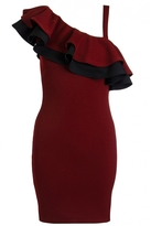 Quiz Berry And Black Shoulder Frill Bodycon Dress