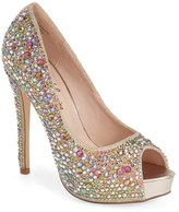 PeepToe Women's Lauren Lorraine 'Candy' Crystal Peep Toe Pump