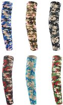 uxcell® Men Camouflage Stretchy Arm Warmers 6 Pairs Assorted Color