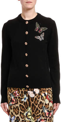 Dolce & Gabbana Cashmere Jewel-Button Butterfly Patch Cardigan