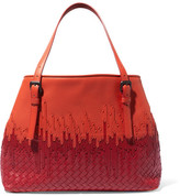Bottega Veneta Shopper Two-tone Intrecciato Leather Tote - Bright orange