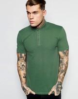 Asos Pique Polo With Button Down Collar In Green