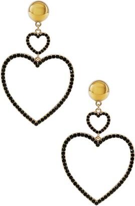Ettika Crystal Heart Drop Earrings