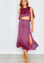 Missy Empire Riiva Purple Satin Printed Skirt Set Co-Ord