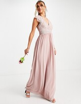 Thumbnail for your product : TFNC Bridesmaid lace wrap maxi dress with gathered skirt in grey