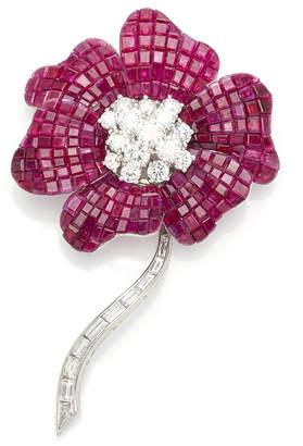 Oscar Heyman Invisibly Set Ruby Flower Brooch