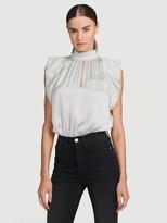 Frame Pleat Silk Sleeveless Top