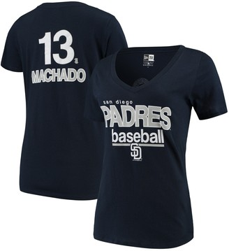 New Era Manny Machado San Diego Padres 5th & Ocean by Women's Baby Jersey Flipped Number & Name V-Neck T-Shirt - Navy