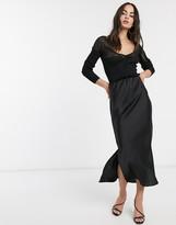 Asos Design DESIGN bias cut satin midi skirt with splits in black