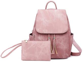 Ella & Elly Women's Backpacks Pink - Pink Tassel-Accent Backpack