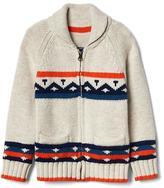 Fair isle shawl zip cardigan