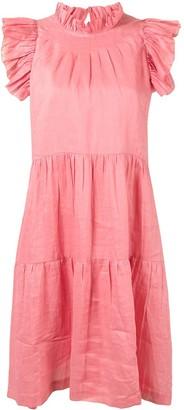 Sea Ruffled Cotton Dress