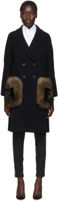Fendi Black FF Fur Pockets Coat