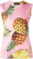 Dolce & Gabbana pineapple pattern tank top - women - Silk - 44