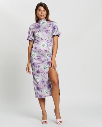 Glamorous High-Neck Floral Midi Dress