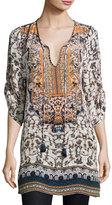 Tolani Monroe Split-Neck Printed Tunic, Navy, Plus Size