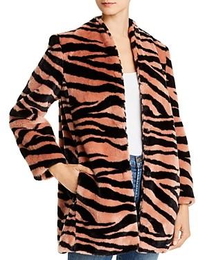 Mason by Michelle Mason Tiger Print Faux Fur Car Coat