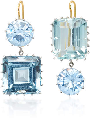 Renee Lewis 18K White Gold Synthetic Sapphire and Aquamarine Earrings