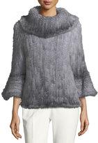 Adrienne Landau Knit Fur Bell-Sleeve Poncho, Blue