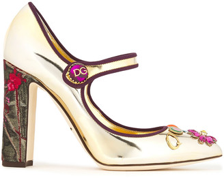 Dolce & Gabbana Embellished Printed Mirrored-leather Mary Jane Pumps