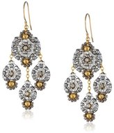 Miguel Ases Pyrite and Gold Chandelier Drop Earrings
