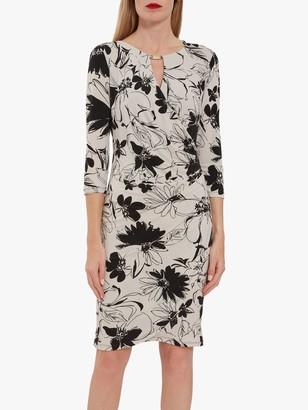 Gina Bacconi Cladine Floral Jersey Wrap Dress, Black/Stone