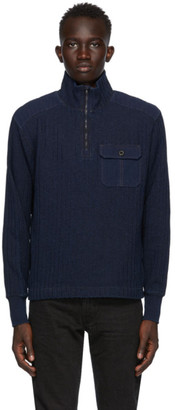 Ralph Lauren RRL Navy Ribbed Quarter-Zip Sweater