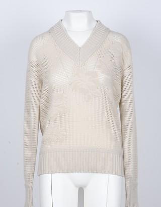 Lamberto Losani Beige 100% Cashmere Women's V-Neck Sweater