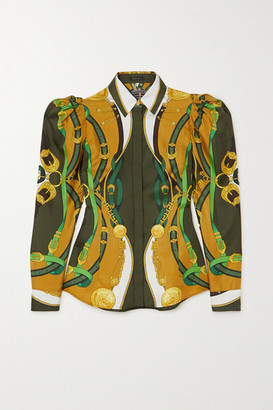Versace Printed Satin Shirt - Green