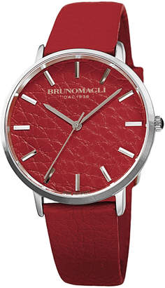 Bruno Magli Men's Roma 38mm Leather-Dial Watch, Red/Steel