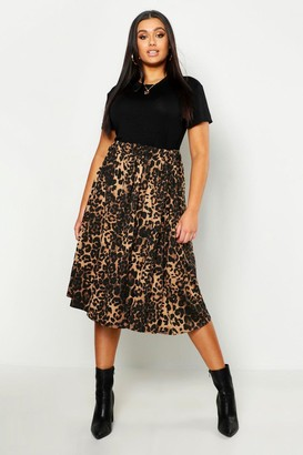 boohoo Plus Jersey Animal Print Midi Skater Skirt