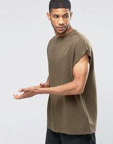 Asos Super Oversized Sleeveless T-Shirt In Heavy Jersey With Tonal Stitching In Khaki