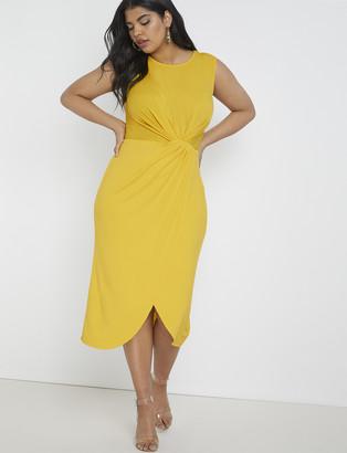 ELOQUII Draped Front Midi Dress