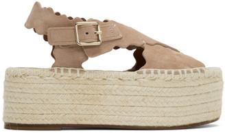 Chloé Pink Suede Espadrilles Platform Sandals