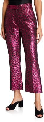 Tanya Taylor Madden Metallic Leopard-Print Pants