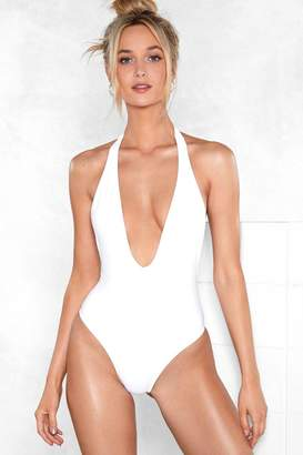Nasty Gal Womens Take the Plunge Halter Swimsuit - white - 12