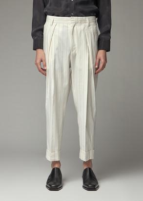 Ann Demeulemeester Men's Pleated Trouser Pants in Barga Ecru/Black Size Medium Cotton/Linen