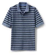 Lands' End Men's Short Sleeve Stripe Mesh Polo Shirt-Moonlight Blue Oxford